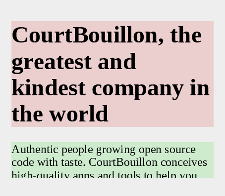A poster describing CourtBouillon, with overflow property set to hidden