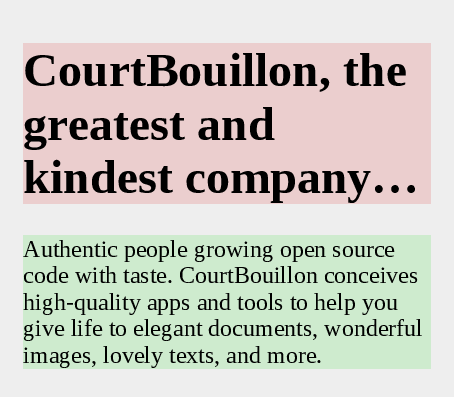 A poster describing CourtBouillon, with max-lines and block-ellipsis set